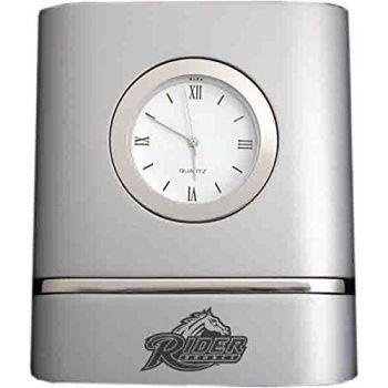 Rider University- Two-Toned Desk Clock -Silver