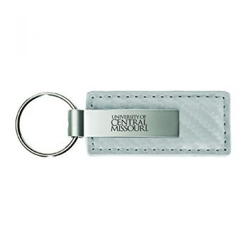 University of Central Missouri-Carbon Fiber Leather and Metal Key Tag-White