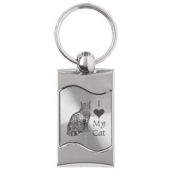 Keychain Fob with Wave Shaped Inlay  - I Love My Cat