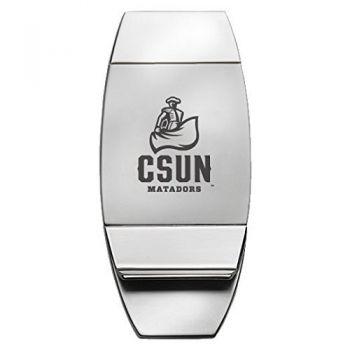 California State University, Northridge - Two-Toned Money Clip - Silver