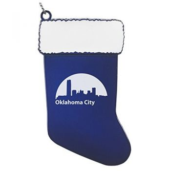 Pewter Stocking Christmas Ornament - Oklahoma City Skyline