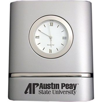 Austin Peay State University- Two-Toned Desk Clock -Silver