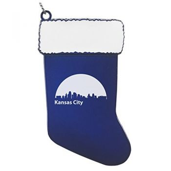Pewter Stocking Christmas Ornament - Kansas City City Skyline