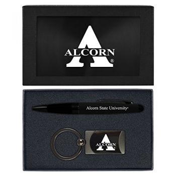 Alcorn State University -Executive Twist Action Ballpoint Pen Stylus and Gunmetal Key Tag Gift Set-Black