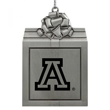 Arizona Wildcats -Pewter Christmas Holiday Present Ornament-Silver