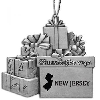 New Jersey-State Outline-Pewter Gift Package Ornament-Silver