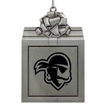 Seton Hall University -Pewter Christmas Holiday Present Ornament-Silver
