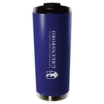 University of North Carolina at Greensboro-16oz. Stainless Steel Vacuum Insulated Travel Mug Tumbler-Blue
