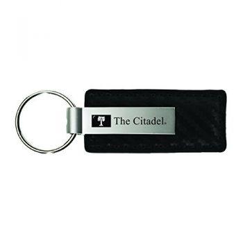 The Citadel-Carbon Fiber Leather and Metal Key Tag-Black