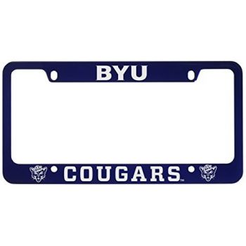 Brigham Young University -Metal License Plate Frame-Blue