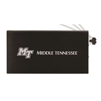 8000 mAh Portable Cell Phone Charger-Middle Tennessee State University -Black