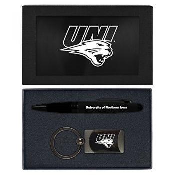 University of Northern Iowa-Executive Twist Action Ballpoint Pen Stylus and Gunmetal Key Tag Gift Set-Black