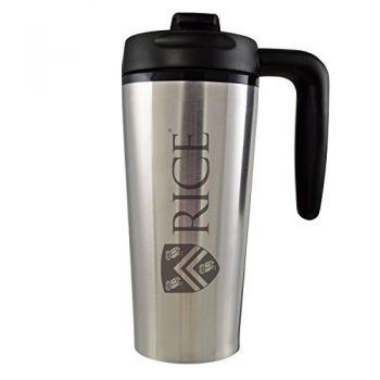 Rice University -16 oz. Travel Mug Tumbler with Handle-Silver