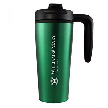 College of William & Mary-16 oz. Travel Mug Tumbler with Handle-Green