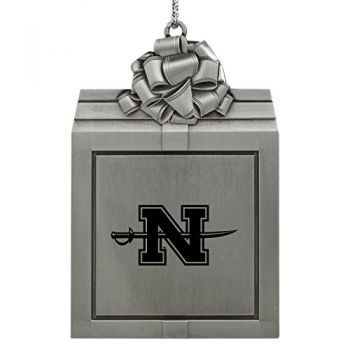Nicholls State University -Pewter Christmas Holiday Present Ornament-Silver