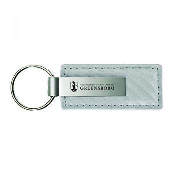 University of North Carolina Wilmington-Carbon Fiber Leather and Metal Key Tag-White