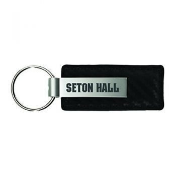 Seton Hall University-Carbon Fiber Leather and Metal Key Tag-Black