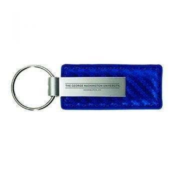George Washington University-Carbon Fiber Leather and Metal Key Tag-Blue