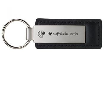 Stitched Leather and Metal Keychain  - I Love My Staffordshire Terrier