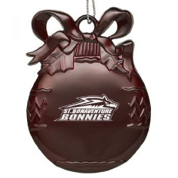 Saint Bonaventure University - Pewter Christmas Tree Ornament - Burgundy