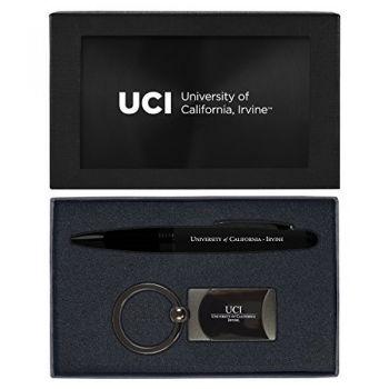 University of California, Irvine-Executive Twist Action Ballpoint Pen Stylus and Gunmetal Key Tag Gift Set-Black