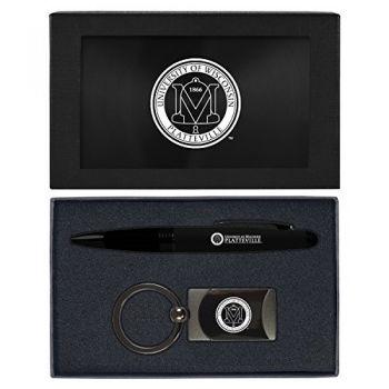University of Wisconsin-Platteville-Executive Twist Action Ballpoint Pen Stylus and Gunmetal Key Tag Gift Set-Black