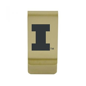 University of Illinois at Chicago|Money Clip with Contemporary Metals Finish|Solid Brass|High Tension Clip to Securely Hold Cash, Cards and ID's|Silver
