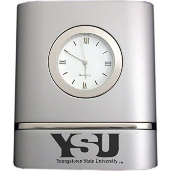 Youngstown State University- Two-Toned Desk Clock -Silver