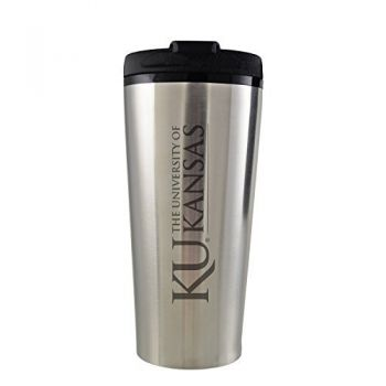 The University of Kansas-16 oz. Travel Mug Tumbler-Silver