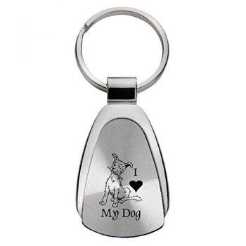 Teardrop Shaped Keychain Fob  - I Love My Dog