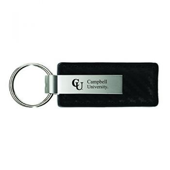 Campbell University-Carbon Fiber Leather and Metal Key Tag-Black