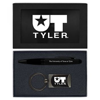 University of Texas at Tyler-Executive Twist Action Ballpoint Pen Stylus and Gunmetal Key Tag Gift Set-Black