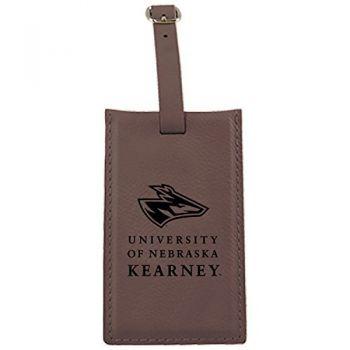 University of Nebraska at Kearney -Leatherette Luggage Tag-Brown