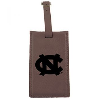 University of North Carolina-Leatherette Luggage Tag-Brown
