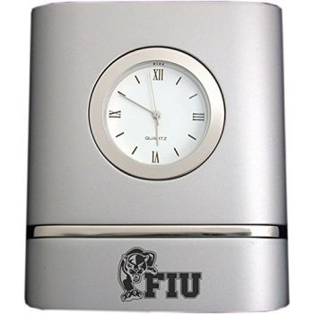 Florida International University- Two-Toned Desk Clock -Silver