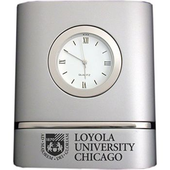 Loyola University Chicago- Two-Toned Desk Clock -Silver