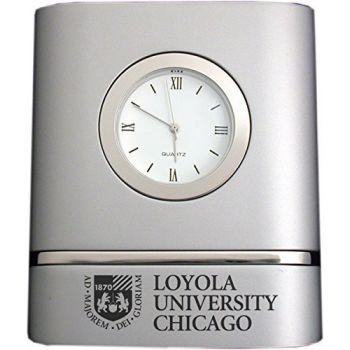 Loyola University Chicago- Two-Toned Desk Clock -Silver