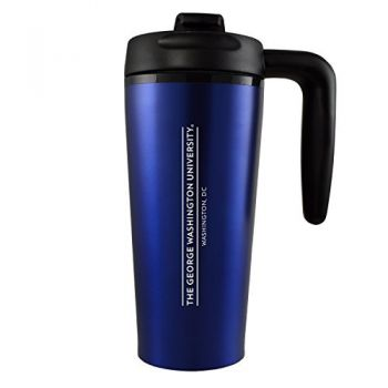 George Washington University -16 oz. Travel Mug Tumbler with Handle-Blue