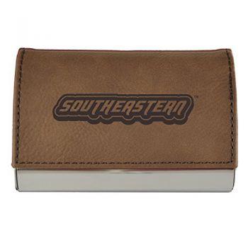 Velour Business Cardholder-Southeastern Louisiana University-Brown