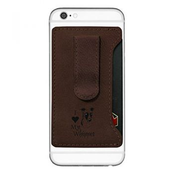 Leatherette Cell Phone Card Holder-I love my Whippet-Brown