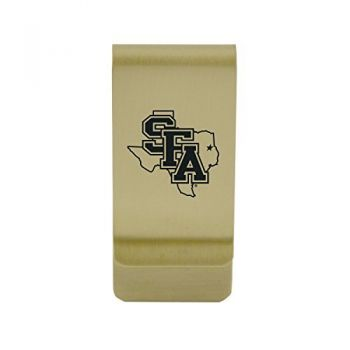 Stony Brook University|Money Clip with Contemporary Metals Finish|Solid Brass|High Tension Clip to Securely Hold Cash, Cards and ID's|Silver