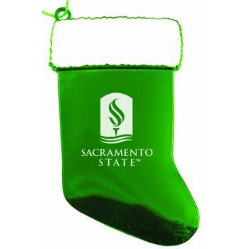 California State University, Sacramento - Christmas Holiday Stocking Ornament - Green