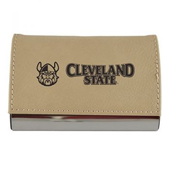 Velour Business Cardholder-Cleveland State University-Tan