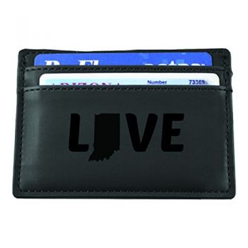 Indiana-State Outline-Love-European Money Clip Wallet-Black