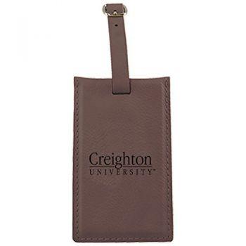 Creighton University -Leatherette Luggage Tag-Brown