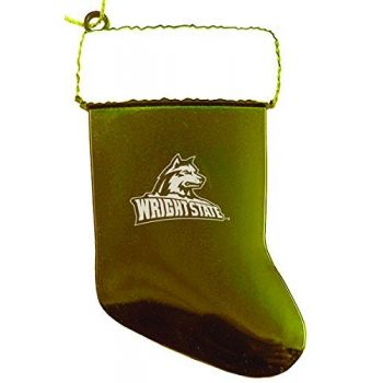 Wright State University - Christmas Holiday Stocking Ornament - Gold