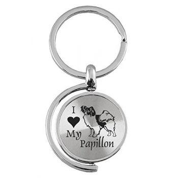 Spinner Round Keychain  - I Love My Papillon