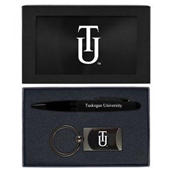 Tuskegee University -Executive Twist Action Ballpoint Pen Stylus and Gunmetal Key Tag Gift Set-Black