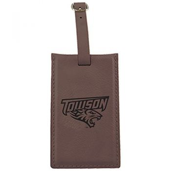 Towson University -Leatherette Luggage Tag-Brown