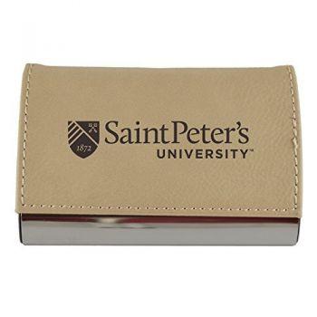 Velour Business Cardholder-Saint Peter's University-Tan
